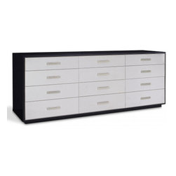 City Modern Dresser - This large-scale bureau is available in Lacquer with Solar Black or Stainless trim and hardware. The lacquer finish is available with your choice of leather or fabric upholstered drawers.