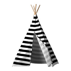 Teepeedees - Black Nautical Stripe Kids' Tepee - This kid's teepee play tent features bold black nautical stripes and trimmed in nylon ropes so the little skipper in your household can practice boating knots. Your child will love sailing away a lazy afternoon in this play tent.