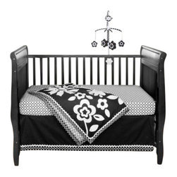 Bananafish - Zia 3-Piece Crib Bedding Set by Bananafish - Bold designs minus the cutesy overload, this three-piece crib bedding set is tasteful and elegant. Wee ones see the world in black and white and prefer the contrasting colors for the first few months. Indulge your tot with this stylish set and accessorize wildly — go ahead, it's fun!