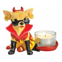 WL - 3.5 Inch Red and Yellow One Hot Diva Chihuahua Collectible Tea Light - This gorgeous 3.5 Inch Red and Yellow One Hot Diva Chihuahua Collectible Tea Light has the finest details and highest quality you will find anywhere! 3.5 Inch Red and Yellow One Hot Diva Chihuahua Collectible Tea Light is truly remarkable.