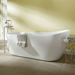 Sheba Acrylic Slipper Tub - Gracefully curved sides and sleek lines make the Sheba Tub a modern masterpiece. This acrylic tub has a slipper design that makes it comfortable to lean back while you bathe.