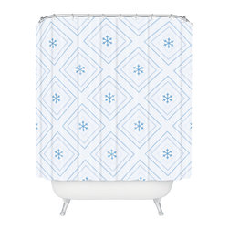 DENY Designs - DENY Designs Lara Kulpa Diamonds In The Snow Shower Curtain - Who says bathrooms can't be fun? To get the most bang for your buck, start with an artistic, inventive shower curtain. We've got endless options that will really make your bathroom pop. Heck, your guests may start spending a little extra time in there because of it!