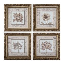 www.essentialsinside.com: french florals framed wall art, set of 4 - French Florals Framed Wall Art, Set of 4 by Uttermost, available at www.essentialsinside.com