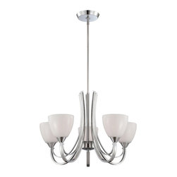 Designers Fountain - Designers Fountain 84685 Cortona 5 Light Chandelier in Chrome Finish Multicolor - Shop for Chandeliers from Hayneedle.com! Classic design is infused with contemporary edge in the Designers Fountain 84685 Cortona 5 Light Chandelier in Chrome Finish making it the perfect choice for both casual and formal settings. With graceful sweeping double arms supporting gloss white opal shades this transitional-style chandelier is just what you need to amp up the aesthetics of your foyer or dining space a few notches. Five 100-watt incandescent medium base bulbs (not included) emit a warm glow for atmospheric dining and entertaining while the smart chrome finish enhances the chandelier's visual appeal.About Designers FountainHeadquartered in sunny Los Angeles Designers Fountain lets you show off your creative side. Indulge yourself and your home with a range of lighting styles from contemporary to classic each crafted with care from high-quality materials. Designers Fountain supplies lighting fixtures to over 1 200 authorized North American dealers and sources designs from across the world. Get quality lighting that enhances your home while impressing you with its affordable price... only from Designers Fountain.