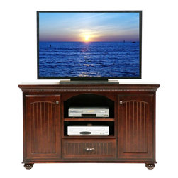 Eagle Furniture Manufacturers - American Premiere Entertainment Console (Caribbean Rum) - Finish: Caribbean Rum. One fixed wood shelf. One felt lined bead board drawer. Two bead board doors. Two fixed wood half shelves. Crown molding. Rope molding. Bead board detailing. Warranty: Eagle's products are guaranteed against material defects for one year from date of delivery to the dealer. Made in USA. No assembly required. 58.75 in. W x 17.75 in. D x 35 in. H (129.67 lbs.)