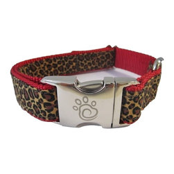 """chief furry officer - Designer Fabric Dog Collar - The Zoo, Small - cfo proudly presents the zoo. Stylish and fun. 100% cotton animal print is featured on this collar. Chocolate brown and black print on a caramel background will bring out """"the animal"""" in your cfo."""