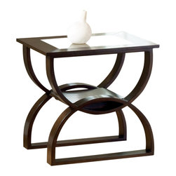 Steve Silver - Dylan End Table - The Dylan Occasional Collection while simple has lots of style. Highlighted by the curves in the base the table tops feature glass inserts. Sure to add interest to any room.