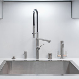 Mila - Mila Swiss Stainless Steel Sinks - These sinks are SO unique. They are not undermounted. They are not dropped in. They are FLUSHMOUNTED. They are crafted of the finest European 16 gauge stainless steel and they are folded and welded, not stretched which creates a thinner and noisier sink. These sinks will be featured in the upcoming Santa Cruz Architectural Tour and in the Sunset Celebration Weekend Project June 1-2 in Menlo Park. Check out these beautiful installations on our website www.plumbedelegance.com
