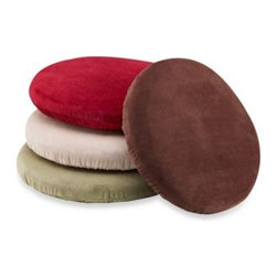 "Brentwood Originals - Memory Foam Bar Stool Cover - Make sitting at your bar more comfortable with this plush memory foam bar stool cover. Soft and stylish the bar stool cover provides comfort and protects your bar stool's seat. It also has an elastic band sewn in to hold it in place. 12"" in diameter."