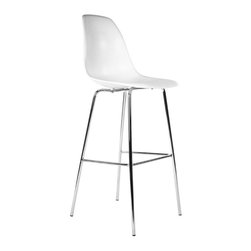 #N/A - The  Llio Bar Stool - The  Llio Bar Stool. The Llio bar stool is made from ABS shell and steel legs with a foot rest. This stool has curved contours which offer more comfort.  Built with high quality materials that will for years to come.