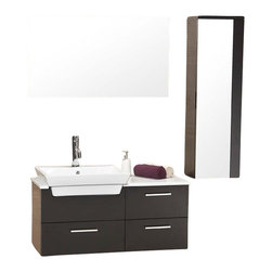 Fresca - Fresca Caro Modern Bathroom Vanity, Espresso - This solid wood espresso ensemble is contemporary and chic in design. As well as sleek geometrical lending an air of no frills but a touch of sophistication of white counter top contrasted and a white basin against espresso coloring. Comes with mirror and a additional storage cabinet. Ideal for anyone looking for a simple yet elegant look.