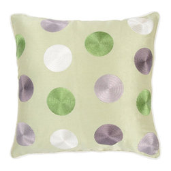 Rizzy Rugs - Rizzy Home Green 18 Inch x 18 Inch Pillow Cover with Hidden Zipper - - Pillow Cover with Hidden Zipper  - Poly Slub Fabric  - Embroidered and Welt Details  - Primary Color - Green  - Secondary Color - Lilac  -  Hand Wash in Cold Water. Lay Flat to Dry. Rizzy Rugs - T03579
