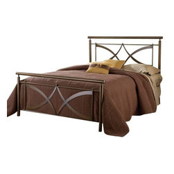 Hillsdale Furniture - Hillsdale Marquette Metal Bed in Brushed Copper - King - Contemporary and clean, the Marquette bed is a standout in home decor. The brushed copper finish adds warmth to the modern design features in the headboard and footboard. Small ball finials accentuate the arching crisscross design creating unique look for your bedroom. Constructed of heavy gauge tubular steel.