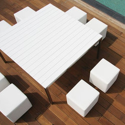 Rio Outdoor Stool and Dining Table - This Rio stool can be used for dining seating or casual seating.