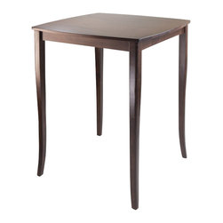 Winsome - Winsome Inglewood High Table with Curved Top in Antique Walnut Finish - Winsome - Dining Tables - 94733 -