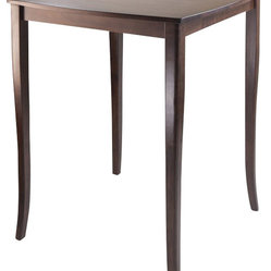 Winsome Inglewood High Table with Curved Top in Antique Walnut Finish