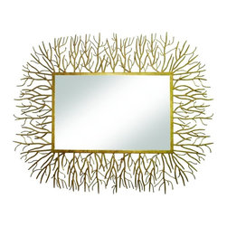 Gold Twig Mirror - Our golden twig collection is hand-finished in a multi-step process. Made by by master craftsmen of forged iron. We love this collection! The twig mirror will be a piece of conversation and beauty in your home!  Hang vertically or horizontally