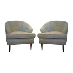 """Mid-Century Modern Club Chairs - This chic pair of authentic Mid-Century chairs have been professionally reupholstered in an ultra soft chenille. They are done in a fresh """"celery"""" colored fabric. Minor wear in the original legs... but still hot as ever!"""