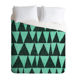 DENY Designs - Nick Nelson Analogous Shapes 1 Duvet Cover - Turn your basic, boring down comforter into the super stylish focal point of your bedroom. Our Luxe Duvet is made from a heavy-weight luxurious woven polyester with a 50% cotton/50% polyester cream bottom. It also includes a hidden zipper with interior corner ties to secure your comforter. it's comfy, fade-resistant, and custom printed for each and every customer.