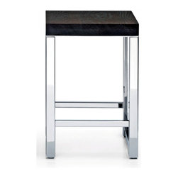 Modo Bath - Harmony Stainless Steel Stool - Harmony 508 Wood Stool with Board in Polished Stainless Steel, Stool In Polished Stainless Steel Seat in Thermo-ash With Massive Wood Seat Includes Board, Made in Germany