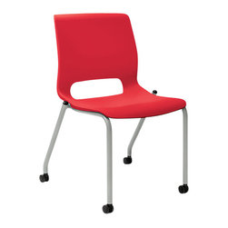 Hon - Motivate Stacking Chair, 4 Leg Base, Set of 2 - Check out this choice cherry chair. Each chair in the set of two features a contoured back and seat molded from bright red polypropylene strong enough to hold up to 300 pounds, and you can stack up to six to save space. But talk about choices! You can customize them with arms, cushions and your choice of casters or glides on the feet.