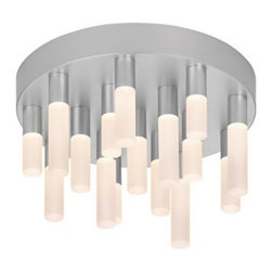 """Staccato 12"""" LED Flush Mount - The Staccato 16-Light LED Flush Mount by Sonneman has been designed by Robert Sonneman.The Staccato 16-Light LED Flush Mount consists of 16 LED wands arranged on a circular ceiling light at varying lengths. Each wand contains an LED lamp, softly diffused by a white etched, acrylic cylinder. Dimmable with ELV or standard (TRIAC) incandescent dimmer.  Product description:  The Staccato 16-Light LED Flush Mount by Sonneman has been designed by Robert Sonneman.The Staccato 16-Light LED Flush Mount consists of 16 LED wands arranged on a circular ceiling light at varying lengths. Each wand contains an LED lamp, softly diffused by a white etched, acrylic cylinder. Dimmable with ELV or standard (TRIAC) incandescent dimmer.  Details:      Manufacturer:     Sonneman      Designer:    Robert Sonneman        Made in:    USA        Dimensions:     Diameter:12"""" (30.48 cm) X Height:6.75"""" (17.15 cm)          Light bulb:  6 X LED Max 30W Overall Wattage        Material:      aluminum, metal, acrylic, polymer"""