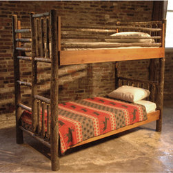 "Hickory Bunk Bed  FR 430 - Hickory sapling construction, shown with bark on. Available with bark off and wood stained. Available too any dimensions and specifications. Available as standard bed, four poster or with canopy. Width 41"" - Depth 83"" - Height 77"""