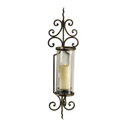 Cyan Design - Cyan Design Pavillion Wall Candleholder X-49510 - An elongated glass cylinder houses the candle of your choice (not included) for a classic look to this Cyan Design wall candleholder. From the Pavillion Collection, this traditional wall sconce features eye-catching scrolls and charming wrought iron details, all donning a versatile Rust finish.