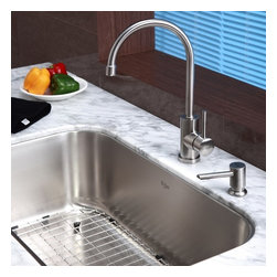 Kraus - Single Lever Pull out Kitchen Mixer and Soap Dispenser - Update the look of your kitchen with this stylish Kraus faucet