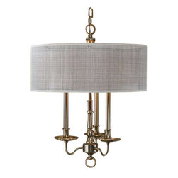 Uttermost Santina 3 Light Drum Chandelier - Metal spinnings finished in a plated antiqued brushed brass with a beige open weave transparent outer hardback shade and a rust beige inner hardback shade. Metal spinnings finished in a plated antiqued brushed brass with a clear outer hardback shade and a rust beige inner hardback shade.