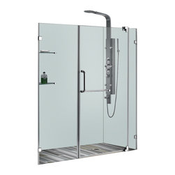 Vigo - 60in.  Frameless Shower Door 3/8in.  Clear Glass Chrome Hardware - Experience fine quality combined with superior design in a VIGO frameless shower door.