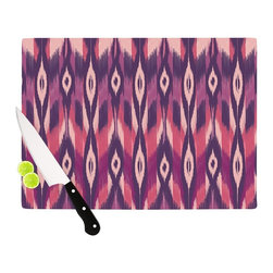 "Kess InHouse - Amanda Lane ""Purple Ikat"" Pink Lavender Cutting Board (11.5"" x 15.75"") - These sturdy tempered glass cutting boards will make everything you chop look like a Dutch painting. Perfect the art of cooking with your KESS InHouse unique art cutting board. Go for patterns or painted, either way this non-skid, dishwasher safe cutting board is perfect for preparing any artistic dinner or serving. Cut, chop, serve or frame, all of these unique cutting boards are gorgeous."