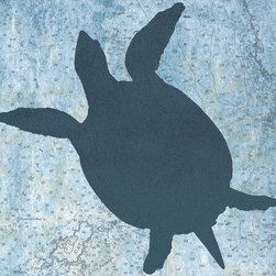One Red Buffalo - Sea Turtle II - The perfect wall decor for coastal character with a bold, graphic silhouette of ocean wildlife on a subtle vintage ocean chart background.