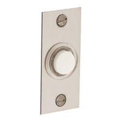 Baldwin Hardware - 2.5 in. Rectangular Wired Lighted Doorbell Button in Satin Nickel (4853.150) - Feel the difference Baldwin hardware is solid throughout, with a 60 year legacy of superior style and quality. Baldwin is the choice for an elegant and secure presence. Baldwin guarantees the beauty of our finishes and the performance of our craftsmanship for as long as you own your home.