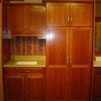 "Schrock - Showroom displays - Cabinetry is Schrock Pleasant Hill, ""Light"" on cherry"