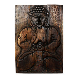 Kammika - Sakyamuni Seated Buddha Panel 20x30 inch H Monkey Pod w E Frndly Livos Mocha Oil - Our Sustainable Monkey Pod Wood Sakyamuni Seated 20 inch width x 30 inch height with Eco Friendly, Natural Food-safe Livos Mocha Oil Finish is a one of a kind, handmade completely environmentally friendly work of art. This detailed carving is a rendition of the Enlightened One or Awakened One from the Himalayan foothills commonly known as Sakyamuni. His image is simultaneously uplifting and relaxing. Now you can discover the calming, inspiring effect of Buddha when you display this wall panel which has been carved from joining panels. In order to not waste wood, the nose is a separate piece that is attached by screws on the back side. The panel has two embedded flush mount Keyhole hangers for a protruding screw from your wall. Hand carved by craftspeople in Thailand, these are made of sustainable wood grown specifically for the woodcarving industry. They are rubbed in Livos Mocha Oil finish comprised of translucent Livos Black Oil over rich Livos Chestnut Oil creating a dark Mocha highly water resistant and food safe finish. These natural oils are translucent, so the wood grain detail is highlighted in dark brown and mocha tones. Polished to a matte finish, there is no oily feel and cannot bleed into carpets. We make minimal use of electric hand sanders in the finishing process. All products are dried in solar and or propane kilns. No chemicals are used in the process, ever. After each piece is carved, kiln dried, sanded, and hand rubbed with Livos Mocha oil, they are packaged with cartons from recycled cardboard with no plastic or other fillers. The color and grain of your piece of Nature will be unique, and may include small checks or cracks that occur when the wood is dried. Sizes are approximate. Products could have visible marks from tools used, patches from small repairs, knot holes, natural inclusions or holes. There may be various separations or cracks on your piece when it arrives. There may be some slight variation in size, color, texture and finish color.Only listed product included.