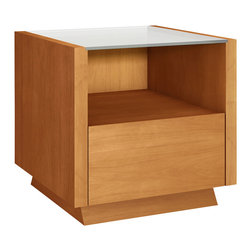Furnitech - Contemporary end table - Contemporary end table with drawer and clear glass top.