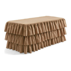 Grandin Road - Ruffled Burlap Fitted Tablecloth - Rectangular - Expert workmanship shows in every detail. For tablecloths, the finest-quality burlap is sewn into three gently cascading tiers. Tablecloths are then fitted perfectly into round and rectangular shapes for a custom, designer look. Tailored from 100% jute; runner ruffles are cotton. Dry clean. Our Ruffled Burlap Fitted Tablecloths and Runners are tailor made for Easter, but an extraordinary way to give your tables a natural, feminine feel any time of year.  .  .  .  .  . Imported.