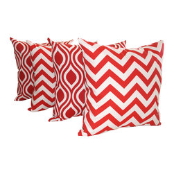 Land of Pillows - Chevron Red and Nicole Rojo Red and White Ogee Outdoor Throw Pillows - Set of 4, - Fabric Designer - Orien
