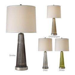 Trend Lighting - Chiara BT576 - Table Lamp | Trend - Trend Lighting Chiara BT5760 Table Lamp from the Basics Collection features off-white linen shade, reeded glass and polished hardware finish. Manufacturer: Trend LightingSize: 29 in. height x 14 in. diameter shadeLight Source: 1 x 100W Incandescent or CFL/LED Equivalent - not includedSwitch:�_On/OffLocation:�_Dry
