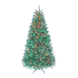 Kurt Adler - Kurt Adler 7-foot Pre-lit Point Pine Tree - With 350 pre-lit Multi-colored lights,half your tree decorating is already done for you. With 1026 tips,a 46 girth,and a metal stand,you can complete the tree with ornaments and a treetop and it will start to feel a lot like Christmas.