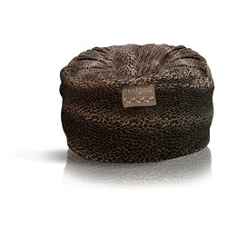 American Furniture Alliance - Mod Pod Classic 5' Lounger - Animal Print Leo - Made in the USA. The perfect combination of coziness with practicality. Eco-Fiendly, 100% recycled polyester fiber fill. Soft outer fabric provides plush seating surface against the skin. Spot clean with a damp cloth. Material: Velvet. 51 in. L x 51 in. W x 34 in. H (50 lbs.)The ultra plush, webbed fiber filling inside the classic 5-footer will make this the most comfortable place to be in your home. Top is all off with a super soft, removable deluxe corduroy cover and you will have the biggest, comfiest piece of furniture in your home.