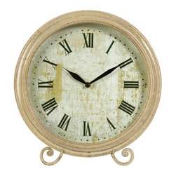 IMAX CORPORATION - Large Avignon Wood Clock - This charming tabletop clock features a vintage face and antiqued wood frame. Find home furnishings, decor, and accessories from Posh Urban Furnishings. Beautiful, stylish furniture and decor that will brighten your home instantly. Shop modern, traditional, vintage, and world designs.