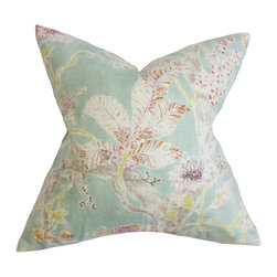 The Pillow Collection - Satriya Floral Pillow Sea Blue - Toss this elegant throw pillow anywhere inside your home where it needs styling and comfort. This throw pillow is adorned with a pretty floral pattern in shades of sea blue, purple, orange, white, green and gray. The organic design is perfect for your garden-inspired decor style. Pair this square pillow with solids and other floral designs from our collection of pillows. Made with a blend of 55% linen and 45% rayon material. Hidden zipper closure for easy cover removal.  Knife edge finish on all four sides.  Reversible pillow with the same fabric on the back side.  Spot cleaning suggested.