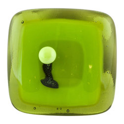 Vivien Hart - Tree of Tranquility, Transparent Knob - These fused glass knobs can add pizzazz to any room or special furniture piece. The knobs are lovingly handmade in my home studio. The object of these knobs is to bring art to a functional object that you can enjoy using every day. Each knob or pull is made using 2,3,4 or in some cases 5 layers of cut glass or glass powders. I often use clear glass either on top of or in between design layers to create a sense of depth. Several of my designs are also three-dimensional in nature. This requires them to be fired in multiple stages to create different effects. Some knobs are fired once while others are fired many times. The knob backing is made of a sturdy stainless steel and is hourglass shaped. The hardware does not cover the back completely thus allowing the glass knob to capture and reflect light. Matching pulls are available with some knob designs. Overall the knobs are consistent in size and color. However each piece is handmade so there may be slight variations between knobs.