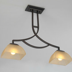 Antique Square Glass Shades Chandelier in Painted Finish -