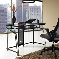 Altra - Altra Furniture Computer Desk - Chrome and Black - 9812096 - Shop for Desks from Hayneedle.com! If your work space is more a jumble of cords than actual work space let the smart modern design of the Altra Furniture Computer Desk - Chrome and Black tame the beast. A wire management hole in the back panel keeps cords in line and you ll love the ultra-modern design of this desk. It includes a metal frame with a black finish chrome-finished front legs and a slide-out keyboard tray.About AmeriwoodAmeriwood Industries is one of the leading manufacturers of wood and engineered wood products in the United States. For more than 30 years Ameriwood has helped furnish homes across North America with ready-to-assemble furniture including wood and metal furniture pieces for home office entertainment and bedroom.