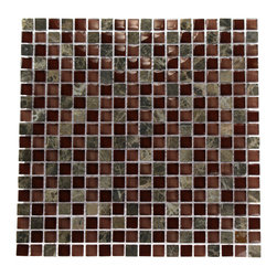 "Bourbon Blend Marble & Glass Mosaics - BOURBON BLEND 1/2"" X 1/2"" GLASS TILES This polished glass creates a striking design. Great to install in a kitchen back splash, bathrooms, and any decorated spot in your home. The mesh backing not only simplifies installation, it also allows the tiles to be separated which adds to their design flexibility. Chip Size: Squares 1/2"" x 1/2"" Color: Dark Emperidor, Rose and Wine Material: Emperidor and Glass Finish: Polished Sold by the Sheet - each sheet measures 12"" x 12"" (1 sq. ft.) Thickness: 8mm"