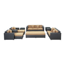 Modway Furniture - Modway Eclipse 9 Piece Sofa Set in Espresso Mocha - 9 Piece Sofa Set in Espresso Mocha belongs to Eclipse Collection by Modway Achieve cosmic aptitude with this empirically abundant outdoor living set. Discover more than the eye can see with Eclipse's radiant mocha all-weather cushions and espresso rattan base. Leave an impression on your surrounding and contemplate the incredible as you triumph on the pathway to new perspectives. Set Includes: One - Eclipse Outdoor Wicker Patio Coffee Table One - Eclipse Outdoor Wicker Patio Coffee Table Cushion One - Eclipse Outdoor Wicker Patio Loveseat One - Eclipse Outdoor Wicker Patio Sofa Two - Eclipse Outdoor Wicker Patio Armchairs Two - Eclipse Outdoor Wicker Patio Ottomans Two - Eclipse Outdoor Wicker Patio Side Tables Coffee Table (1), Loveseat (1), Sofa (1), Armchair (2), Ottoman (2), Side Table (2)