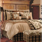 Jennifer Taylor Woodland Comforter/Duvet Set - A rustic, natural addition to your master bedroom, the Jennifer Taylor Woodland Comforter/Duvet Set is a handsome blend of earthy tones and organic-inspired prints. Stately plaid and large green foliage against a cream landscape are a perfect complement to the elk and bear appliques. This bedding collection comes in several size options, each with a variety of coordinating pillow shams finished with embroidery, appliques, and corresponding patterns.Additional Details10-piece set: 1 comforter/duvet: 110 x 96 inches1 bed skirt: 78 x 80 inches (18-inch depth)3 Euro shams: 26 x 26 inches2 kings shams: 21 x 37 inches3 décor pillows9-piece set: 1 comforter: 93 x 96 inches1 bed skirt: 60 x 80 inches (18-inch depth)2 Euro shams: 26 x 26 inches2 standard shams: 20 x 27 inches3 décor shams4-piece set: 1 comforter: 104 x 96 inches1 bed skirt: 60 x 80 inches (18-inch depth)2 king shams: 21 x 37 inchesAbout ACG Green Group, Inc.ACG Green Group is a home furnishing company based in Irvine, California and is a proud industry partner with the American Society of Interior Designers. ACG Green features Jennifer Taylor and Sandy Wilson, their exclusive home décor lines. These two complete collections offer designer home furniture, bedding sets, dining linens, curtains, pillows, and more in classic silhouettes, original designs, and rich colors to complement your home and life.